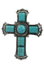Bohemian cowgirl country girls Chunky Turquoise Cross Cuff Bracelet