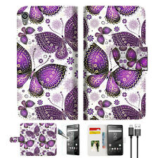 Purple Butterfly Wallet TPU Case Cover For Sony Xperia Z5 Premium-- A017