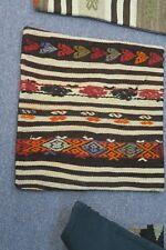 "Turkish Anatolian Kilim Pillow Cushion Hand Woven Wool 18"" x 18"" = Zipper Back"