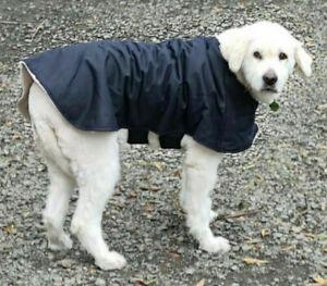 Waterproof Australian Oilskin Dog coat jacket 70cm - 80cm sherpa lining Navy NEW