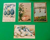 Lot of4 Old Antique Vintage Postcards HappyEaster Greetings Eggs Flowers Ribbons