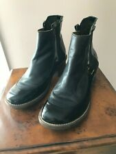 FLY LONDON Black Patent Leather Heel Shoes Ankle Boots Women's - Size 9