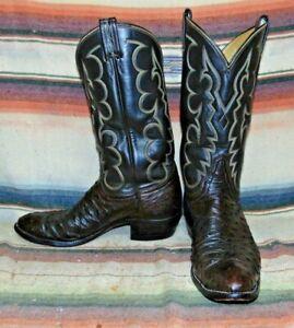 Mens Tony Lama El Rey Brown Full Quill Ostrich Cowboy Boots 11 B Very Good Cond