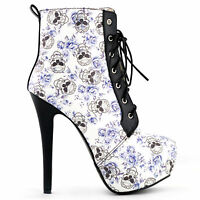 Blue Skull Floral Black Lace Up Gothic Club Ankle Boots UK Size 2.5/3/4/5/6/7/8