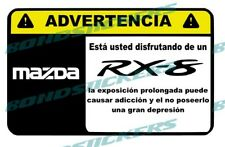 Vinilo impreso pegatina ADVERTENCIA MAZDA RX8 ROTARY RACING JDM  STICKER DECAL