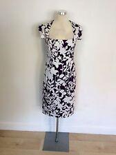 LAURA ASHLEY MULBERRY & WHITE PRINT PENCIL DRESS SIZE 10