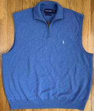 Polo Ralph Lauren Golf Merino Wool Big Pony Zip Sky Baby Blue Sweater Vest XL