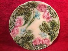 Antique French Majolica Light Pink Strawberries Plate, fm819  GIFT QUALITY!!