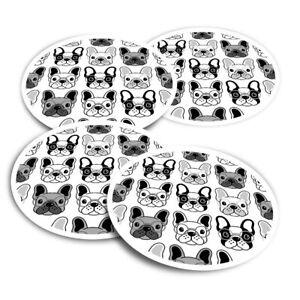 4x Round Stickers 10 cm - BW - Cartoon French Bulldogs Dog  #38654