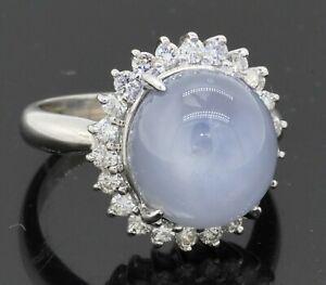 Heavy Platinum 15.66CTW VS diamond & 11 X 11.8mm Star sapphire cocktail ring