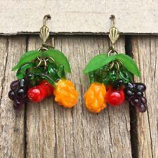 RETRO Lampwork Glass FRUIT EARRINGS Grape Pineapple Cherry ROCKABILLY 50's PINUP