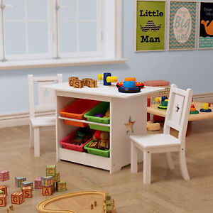 Childrens Kids Wooden Table and Chairs Set With Storage for Nurseries & Bedrooms