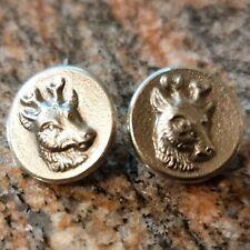 2 Boutons CHASSE VENERIE RALLYE tête de Chevreuil métal argenté 15 mm