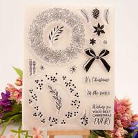 Christmas wreath bowknot Silicone Stamp DIY Scrapbooking Photo Album Decorat Kn