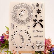 Christmas wreath bowknot Silicone Stamp DIY Scrapbooking Photo Album Decorat Np