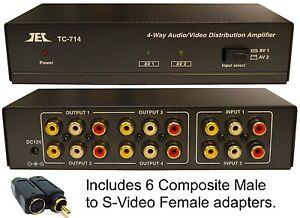 2x4 Composite RCA S-Video Audio Distribution Amplifier Amp Splitter Switcher
