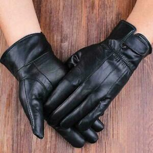 Men's Real Leather Gloves Winter Fleece Lined Soft Driving Strap Gloves Black