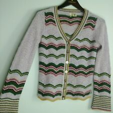 Moth Anthropologie Cardigan Sweater Wavy Striped Wool Angora Open Knit 70s Vtg