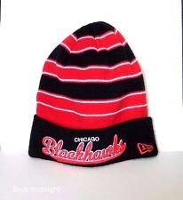 4478ce0e92e Chicago Blackhawks Black   Red Striped New Era Knit Cap W Black Cuff Brand  NWT