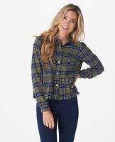 Rachel Hollis Ltd. Button Front Flannel Peplum Top Olive Plaid 26W A368009