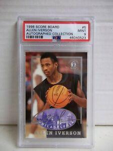 1997-98 Score Board Autographed Allen Iverson PSA Mint 9 Card #5 HOF POP 1