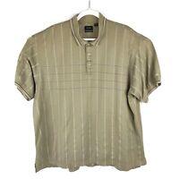 IZOD Golf Polo Shirt Striped Short Sleeve Tan Cotton Shirt Mens Size XXL 2XL