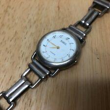 Vintage Fossil Lady Sterling-Tone Bracelet Analog Quartz Watch Hours~New Battery