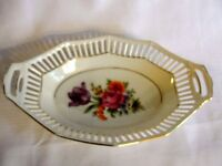 "Stunning Vintage BAVARIA Small Serving Dish Floral Gold Trim 8"" x 5.25"""