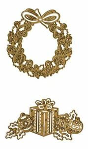 Anna Griffin Dies Christmas embellishment Presents/Gifts & Wreath set of 2 NEW