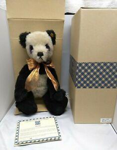 "Knickerbocker 'Moo Shu' Vintage Mohair Stuffed 13"" Panda Bear - COA 177/5000"
