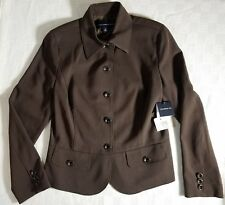 NWT TROUSERS ETC Women's Sz 6 Blazer 5-button Brown Long Sleeve Fully Lined
