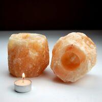 2 X HIMALAYAN SALT CANDLE TEA LIGHT HOLDER 100% NATURAL ROCK SALT
