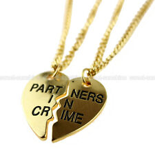 BEST FRIENDS PARTNERS IN CRIME GOLD PENDANT BFF BROKEN HEART 2 NECKLACE SET GIFT