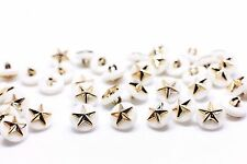 Golden Star Shank Button Pearl White Gold Stars Small Round Shape 11mm 100pcs