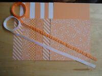 "Stampin Up PEEKABOO PEACH 6 X 6"" Designer Paper Card Kit Ribbon"