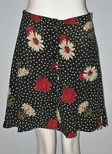 BEECHERS BROOK Size 8 Black Floral Button Up A-Line Skirt (Made in Canada)