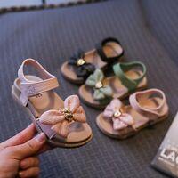 Children Kids Girls Summer Bowknot Flats Casual Princess Party Sandal Beach Shoe