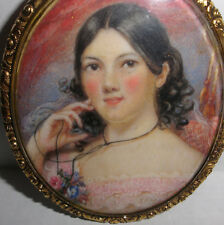 Fine Antique 19th miniature painting young woman portrait mourning hair 14k gold