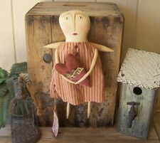 PriMiTiVe ANGEL ART DOLL LOVE LETTERS GRUNGY HEART PILLOW POCKET VINTAGE RED