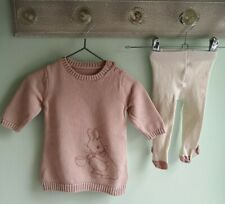 Baby Girls Pretty Peter Rabbit Jumper Dress & Tights Winter Outfit 3-6 Months