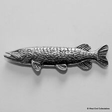 Hunting Pike Pewter Pin Brooch -British Hand Crafted-Coarse Fishing Gift Present