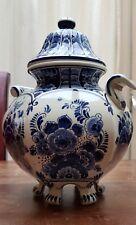 VINTAGE HANDPAINTED PORCELAIN DELFT BLUE GINGER JAR CANDY POT WITH LID
