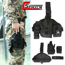 Universal Molle Tactical Gun Pistol Drop Leg Thigh Holster w/ Radio Pouch Black