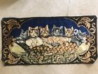 """Vintage Dressed Cats Kittens Tapestry Velvet Wall Hanging Rug Made Italy 38x19"""""""