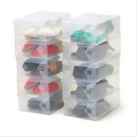 10x Transparent Clear Shoe Storage Box Foldable Stackable Boxes Organize