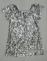 New Xhilaration Juniors Sequin Off the Shoulder Dress Silver