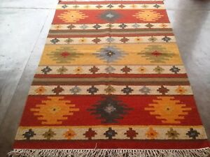 Multi Color Turkish Wool Cotton Kilim Rug 4x6 Feet Home Decorative Area Rug