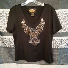 Harley Davidson Womens Blouse Studded HD Eagle Black Scoop Neck Size L
