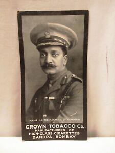 "Vintage Cigarettes Card Crown Tobacco Co Major H.H. The Maharaja Of Kishangarh""2"