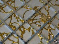 Glasmosaik Mosaik Fliesen Crystal Klarglas EFFEKTMOSAIK  weiss silber  gold  1qm